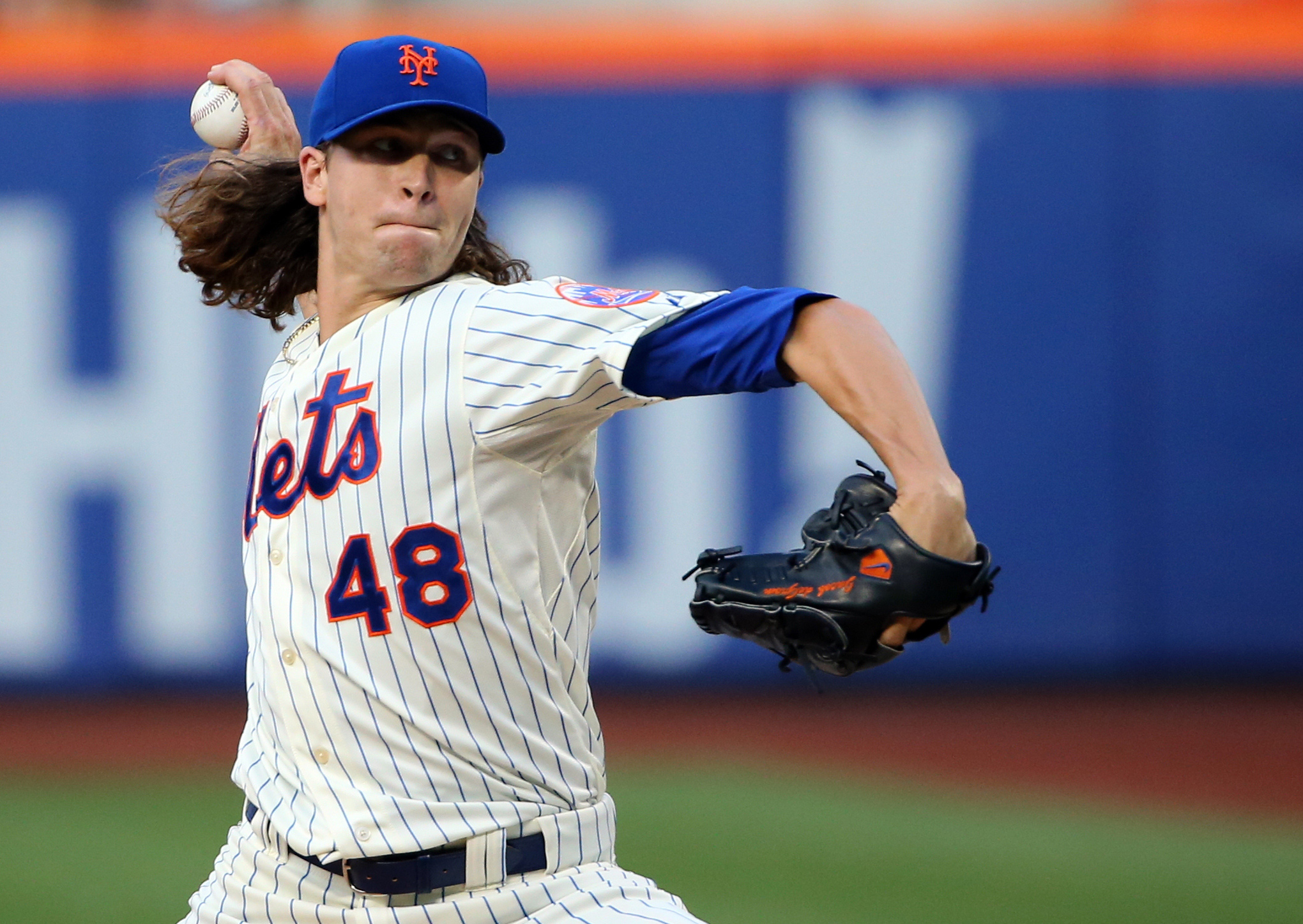 Jul 8, 2014; New York, NY, USA;  New York Mets starting pitcher Jacob deGrom (48) pitches during the first inning Atlanta Braves at Citi Field. Mandatory Credit: Anthony Gruppuso-USA TODAY Sports